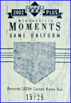 02 UD Redemption Mickey Mantle 500th HR Game Used Patch Relic #d /25 EXCH