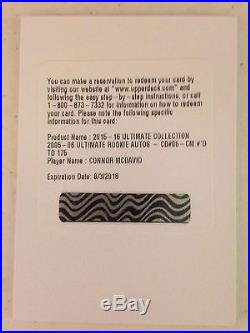 15-16 UD ULTIMATE COLLECTION 2005-06 ROOKIE AUTO CONNOR MCDAVID #/175 redemption