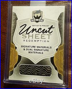 16-17 The Cup Signature & Dual Sig Materials Artist Proof Uncut Sheet Redemption
