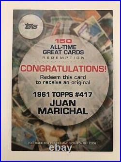 1961 Topps Juan Marichal #417 All-Time Great Cards REDEMPTION 2019 Topps