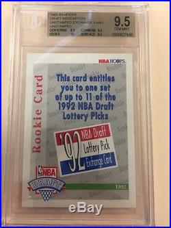 1992-93 Hoops Draft Redemption Lottery Exchange card Unredeemed BGS 9.5 with 10