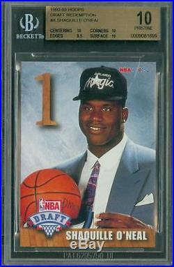 1992 Hoops Draft Redemption Shaquille O'Neal #A BGS 10 Pristine LOW POP Rookie