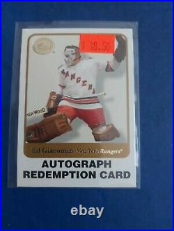 2001-02 Fleer Greats Of The Game Ed Giacomin Autograph Redemption Card Rangers