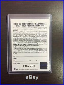 2002-03 Topps Finest #1 Draft Pick Redemption Card Numbered 196/250 Lebron James