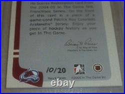 2004-05 Itg Hockey Card Game Used Jersey Redemption Le 20 Patrick Roy Rare NHL