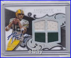2008 Exquisite Aaron Rodgers Auto Autograph Quad Game Used Jersey 2/4 Redemption