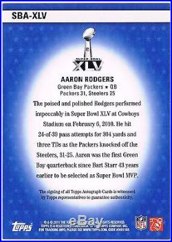 2011 Topps Super Bowl XLV AARON RODGERS Auto 14/25 Redeemed Redemption Packers