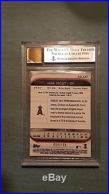 2012 Topps Finest MIKE TROUT Mystery Redemption Rookie Auto #94/100 BGS 9 /10