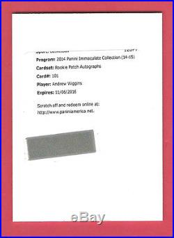 2014-15 Immaculate Basketball Andrew Wiggins Auto Patch Rookie Redemption Card