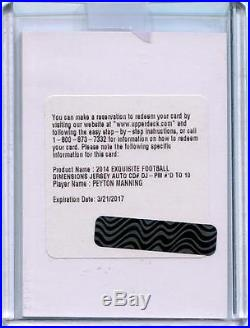 2014 Exquisite Peyton Manning Dimensions Jersey Auto /10 Redemption