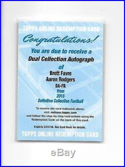 2015 DEFINITIVE BRETT FAVRE AARON RODGERS DUAL AUTO REDEMPTION wow WHAT A CARD