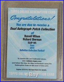 2015 Definitive RUSSELL WILSON RICHARD SHERMAN Dual Auto Patch Redemption Card