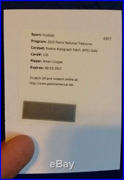 2015 National Treasures AMARI COOPER Gold #/10 RC Auto Patch RPA RPS Redemption