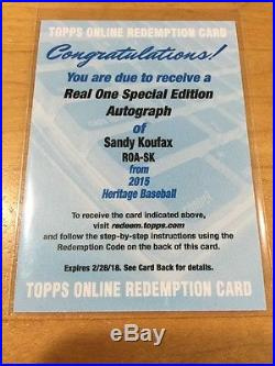 2015 Topps Heritage Sandy Koufax Real One Special Edition Autograph Redemption