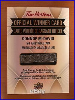 2016-2017 Tim Hortons Connor McDavid NHL Jersey Relic Redemption Card Rare