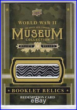 2016 Goodwin Champions World War II Museum Booklet Relics Redemption Card 11293