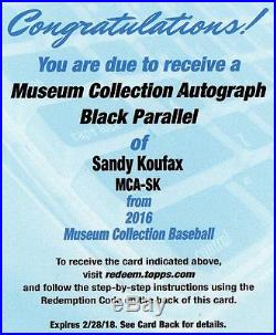 2016 MUSEUM SANDY KOUFAX BLACK PARALLEL AUTO # TO 5 FRAMED CARD REDEMPTION CARD