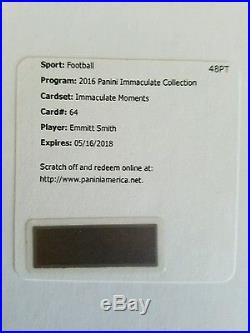 2016 Panini Immaculate Football Emmitt Smith Immaculate Moments Auto Redemption