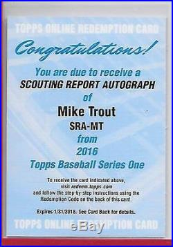 2016 TOPPS SERIES I MIKE TROUT SCOUTING REPORT REDEMPTION AUTO ANGELS