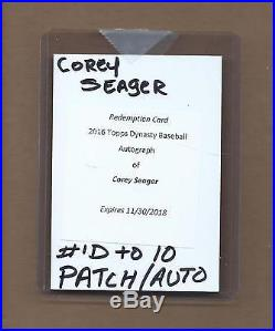 2016 Topps Dynasty Corey Seager Auto Patch Redemption /10 Dodgers