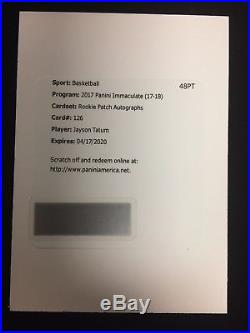 2017-18 Panini Immaculate Jayson Tatum RPA #/99 Rookie Patch Auto Redemption SSP