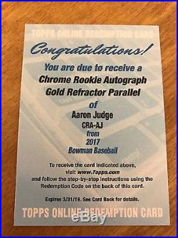 2017 Bowman Aaron Judge Chrome Rookie Gold Refractor Auto /50 Yankees Redemption