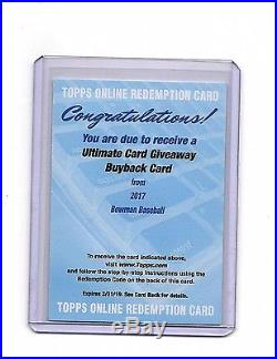 2017 Bowman Ultimate Card Giveaway Buyback Card Redemption! No Odds Given