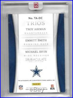 2017 Immaculate Trios Emmitt Smith/Troy Aikman/Michael Irvin Autograph/Auto #3/5