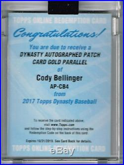 2017 TOPPS DYNASTY CODY BELLINGER GOLD PATCH AUTO AUTOGRAPH RC #d 5 REDEMPTION