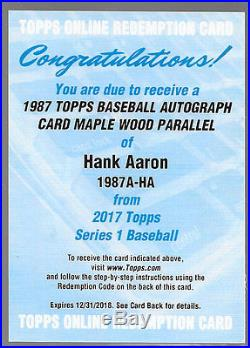 2017 Topps 1987 Topps Ash Wood Autograph /10 Hank Aaron Braves Redemption