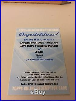 2017 Topps BOWMAN CHROME DRAFT GOLD WAVE JO ADELL REFRACTOR AUTO /50 REDEMPTION