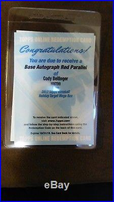 2017 Topps Chrome Update Cody Bellinger Rookie Auto Red Parallel Redemption /25