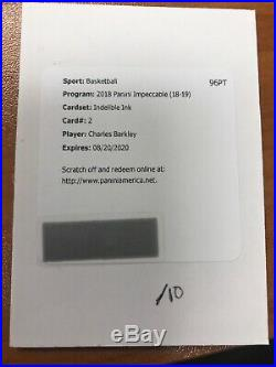 2018-19 Impeccable Charles Barkley Indelible Ink Auto Redemption /10