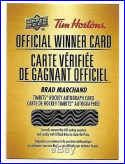 2018-19 Tim Hortons Redemption Card Brad Marchand Timbits Auto /100 SP