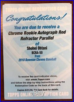 2018 Bowman Chrome Rookie Auto Red Refractor Parallel Shohei Ohtani Redemption