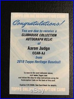 2018 Heritage Aaron Judge Clubhouse Collection Autograph Relic Redemption Auto