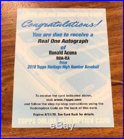 2018 Heritage High Number RONALD ACUNA AUTO RC REAL ONE REDEMPTION $$$$$
