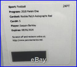 2018 One Saquon Barkley Rookie Patch Auto Red RPA RC SSP /25 Redemption Unused