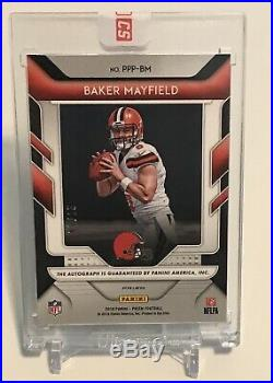 2018 Panini Prizm Baker Mayfield Patented Penmanship Auto 7/25 Sealed Redemption