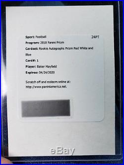 2018 Prizm Baker Mayfield RC Auto SSP Red White Blue Redemption Browns ROY