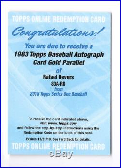 2018 Topps'83 Topps Auto Gold #83ARD Rafael Devers REDEMPTION Auto /50 NM-MT