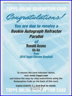 2018 Topps Chrome Ronald Acuna Refractor Auto Redemption Braves! ROY