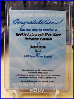 2018 Topps Chrome Shohei Ohtani RC Blue Wave Refractor Auto Redemption /150