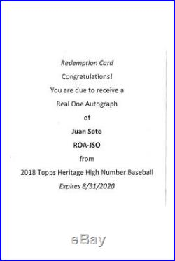2018 Topps Heritage High Number Juan SOTO Real One Autograph UNUSED REDEMPTION