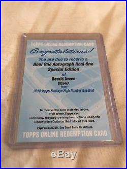 2018 Topps Heritage High Number Real One RONALD ACUNA Auto Redemption Red Ink 69