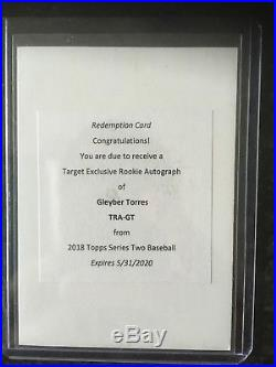 2018 Topps Series 2 Gleyber Torres Target Exclusive Redemption Auto Maybe 1/1