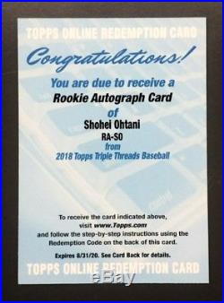 2018 Topps Triple Threads Shohei Ohtani Rookie Auto Redemption Angels Serial #'d