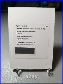 2019-20 National Treasures Karl-Anthony Towns Game Gear Autographs Redemption