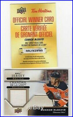2019-20 Upper Deck Tim Hortons Game Used Jersey Relic Redemption Connor Mcdavid