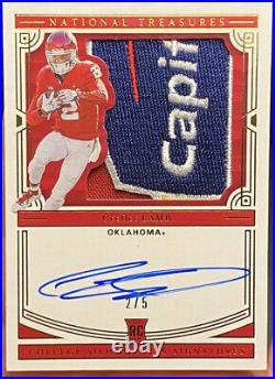 2020 National Treasure CeeDee Lamb College Silhouettes Bowl Game Patch Auto 2/5